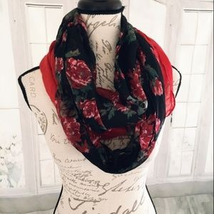 Faded Glory Women's Floral & Red Infinity Scarves